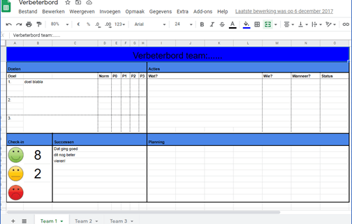 digitaal bord in Excel