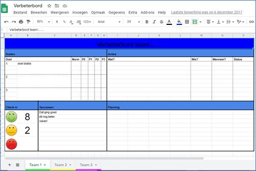 Digitaal Bord Excel